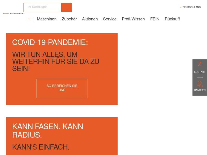 Screenshot von www.fein.de